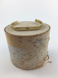 MRS Stamped Brass Hex Cuff - Nickel and Birch