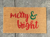 Merry & Bright Holiday Doormat (Script) - Nickel and Birch