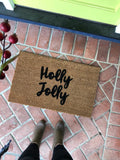 Holly Jolly // Hand painted holiday doormat gives your visitors a clever greeting. - Nickel and Birch