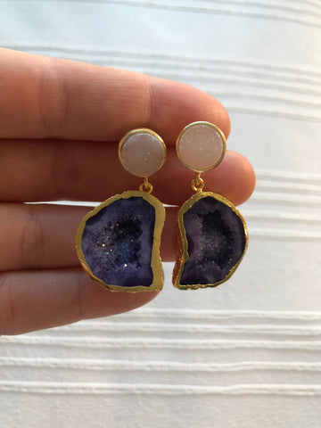 Agate and Druzy Drop Earrings - Nickel and Birch