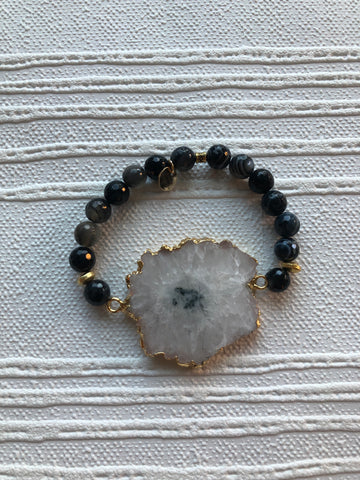 Large Druzy Beaded Bracelet - Nickel and Birch