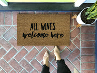 Funny Wine Custom Welcome Mat - Nickel and Birch