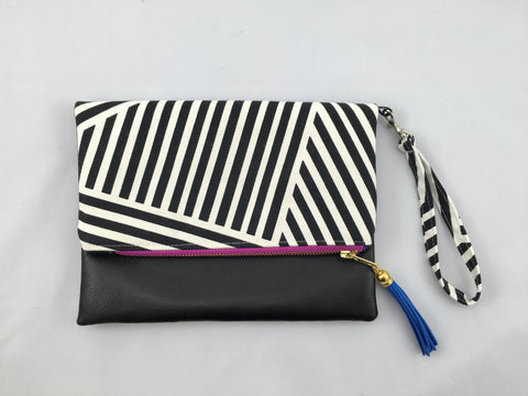 Black and White Striped Clutch - Nickel and Birch