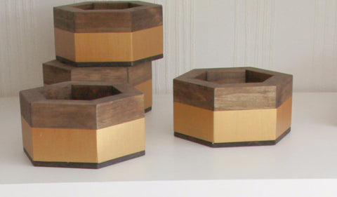 Hexagon Candle / Plant Holder with Gold Stripe - Nickel and Birch