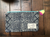 Small Handsewn Clutch with Tassel Accent - Nickel and Birch