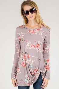 Long Sleeve Knotted Floral Tee - Nickel and Birch
