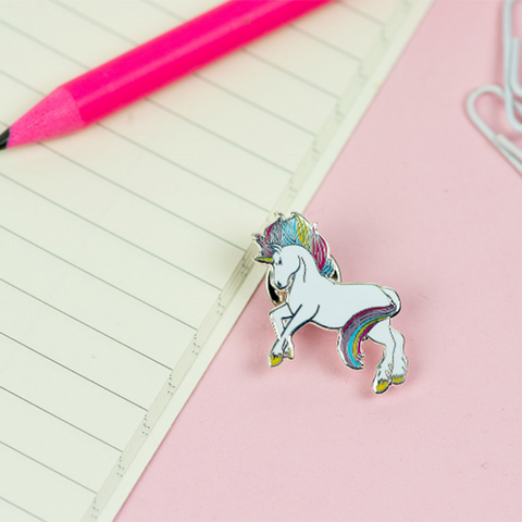 Prancing Unicorn Enamel Pin - Nickel and Birch
