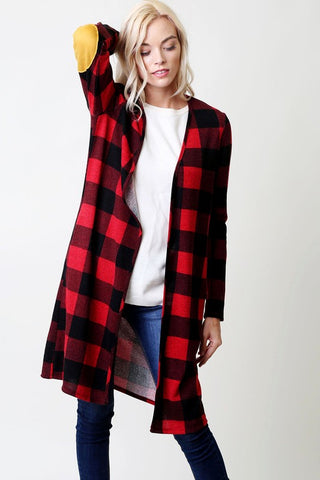 Long Sleeve Buffalo Check Cardigan with Pockets - Nickel and Birch