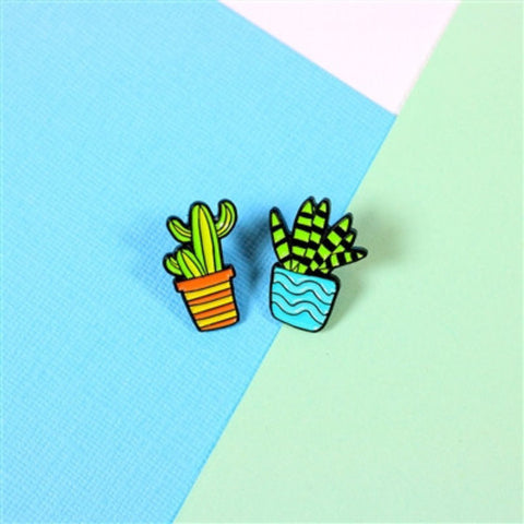 Cactus Duo Enamel Pin Set - Nickel and Birch