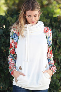Floral Print Hoodie with Pockets - Nickel and Birch