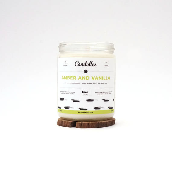 Amber and Vanilla 16oz. Soy Wax Candle - Nickel and Birch