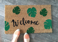 Welcome + leaves doormat. Hand painted, customizable welcome mat brightens your entryway! - Nickel and Birch