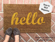 Hello Script Doormat - Nickel and Birch