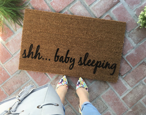 shh...baby sleeping doormat - Nickel and Birch