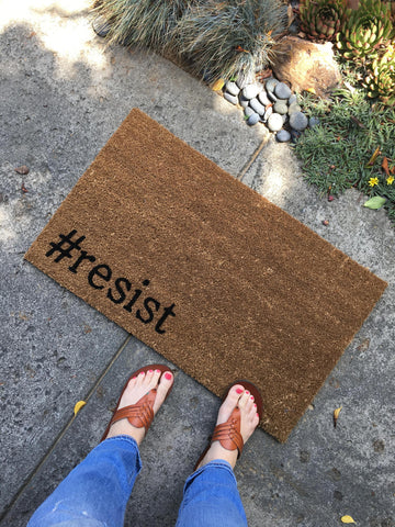 Hashtag #resist Doormat / Funny Custom Welcome Mat / Personalized Unique Gift - Nickel and Birch