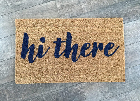 hi there Script Welcome Mat - Nickel and Birch