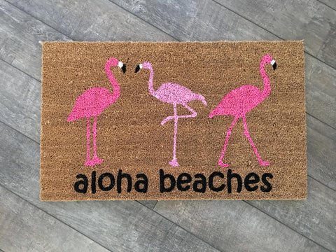 Flamingo Trio Doormat - Nickel and Birch