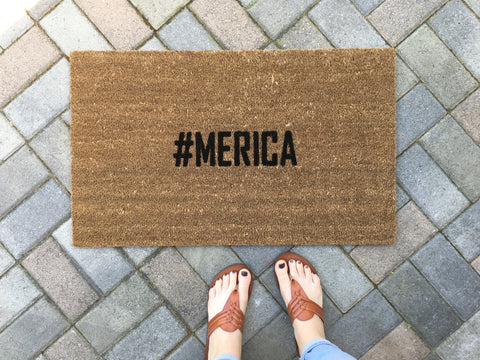 Hashtag #merica doormat / america doormat / Housewarming Gift - Nickel and Birch