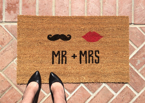 Mr. & Mrs. Welcome Mat - Wedding Gift - Nickel and Birch