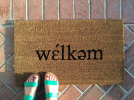 welkem phonetic doormat. Hand painted, phonetic (welcome) doormat. - Nickel and Birch