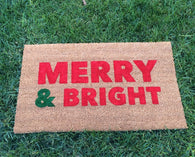 Merry & Bright Holiday Doormat (bold text) - Nickel and Birch