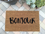 Bonjour Welcome Mat - Nickel and Birch