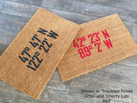 Custom Coordinates Doormat - Nickel and Birch