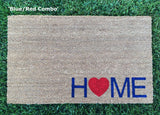 Heart and Home doormat. Hand painted, outdoor welcome mat for front or back entryway shows your personality as your guests arrive! - Nickel and Birch