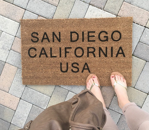 Personalized City + State doormat/Hand painted, custom doormat/Housewarming Gift/Wedding Gift/Fall Decor/Unique Gift/Boyfriend - Nickel and Birch