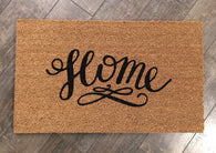 Simple and sweet 'Home' doormat. Hand painted, outdoor welcome mat for front or back entry. - Nickel and Birch