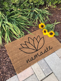 Namaste, lotus flower doormat. Hand painted outdoor welcome mat shows your personality! - Nickel and Birch