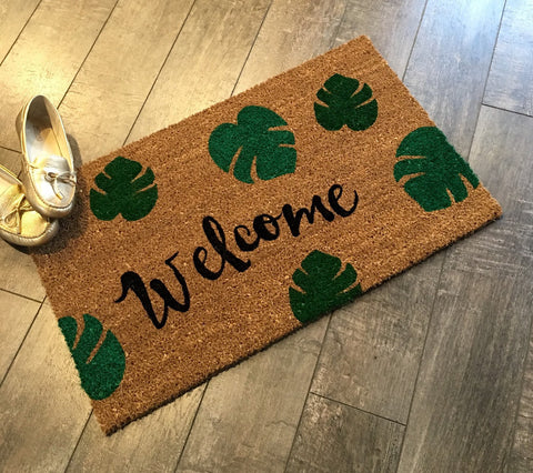 Welcome + Leaves Doormat. Hand Painted, Customizable Welcome Mat Brightens  Your Entryway!