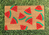 Watermelon doormat. Hand painted, customizable welcome mat brightens your entryway! - Nickel and Birch