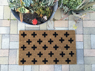 Swiss Cross Doormat - Nickel and Birch