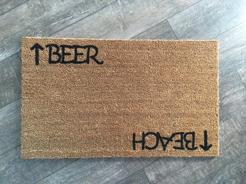 Beer or Beach Funny Doormat - Nickel and Birch