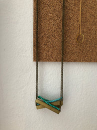 Horizontal Brass Necklace - Nickel and Birch