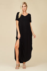 Short Sleeve Maxi Dress with Pockets - Nickel and Birch