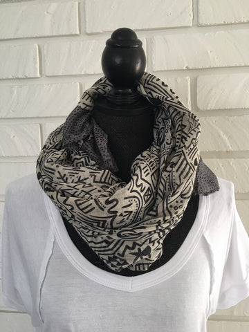 Black and White Pattern Scarf - Nickel and Birch