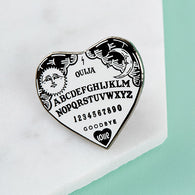 Ouija Heart Enamel Pin - Nickel and Birch