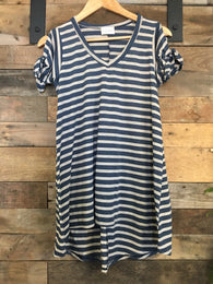 Striped Cut Out Shoulder Tee - Nickel and Birch