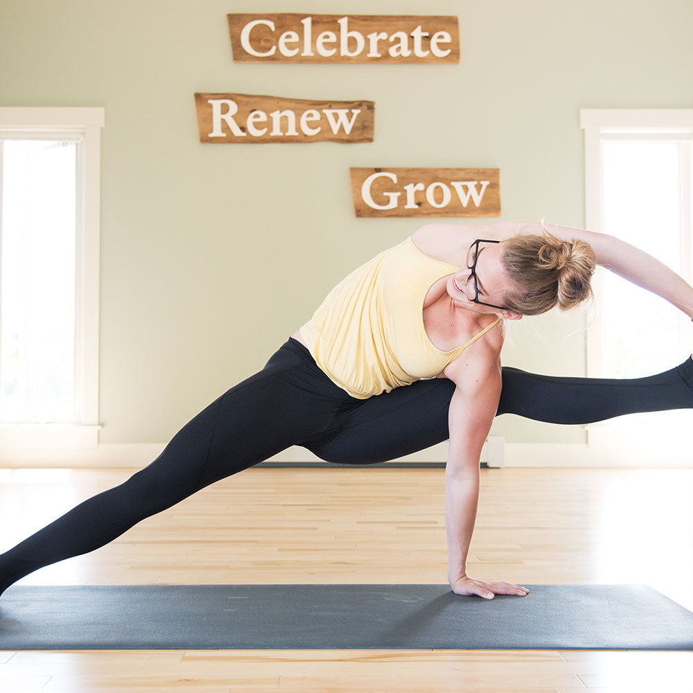 Tonic Active Tribe Member Jenna Switzer Yellow Tank Black Legging