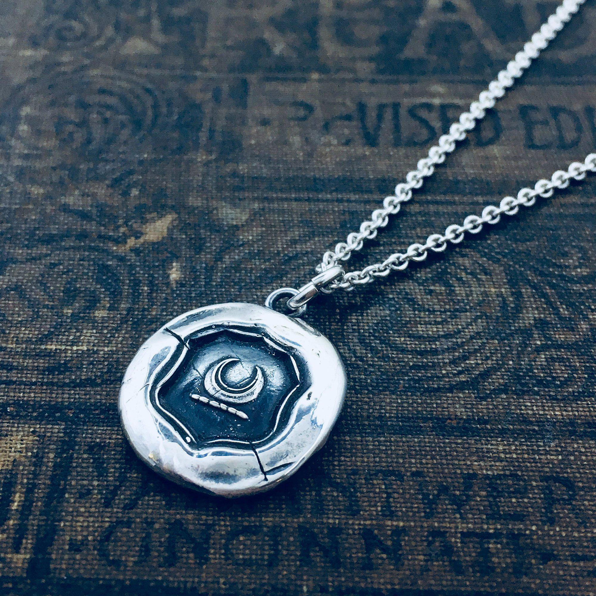 Silver Crescent Moon Wax Seal Necklace