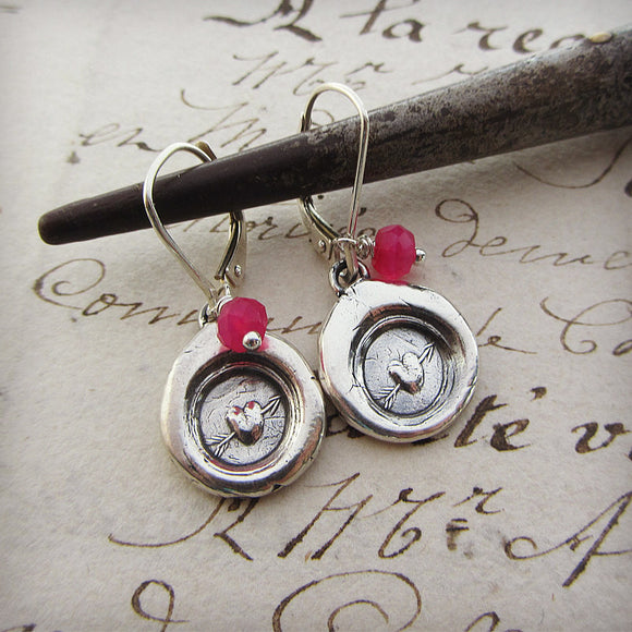 Be Mine Heart Wax Seal Earring with Pink Chalcedony Gemstones - Leaver Backs