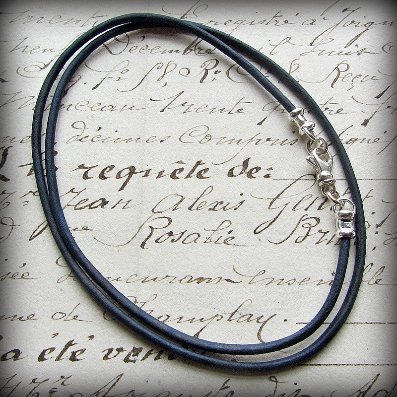 Leather Cord Necklace with Sterling Swivel Clasp - Distressed Indigo Blue - Shannon Westmeyer Jewelry - 2