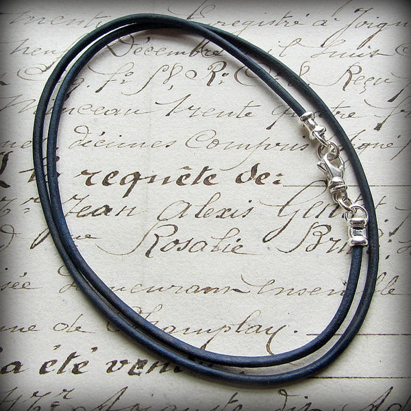 Leather Cord Necklace with Sterling Swivel Clasp - Distressed Indigo Blue - Shannon Westmeyer Jewelry - 1