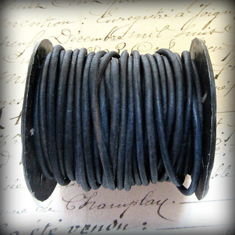 Leather Cord Necklace with Sterling Swivel Clasp - Distressed Indigo Blue - Shannon Westmeyer Jewelry - 4