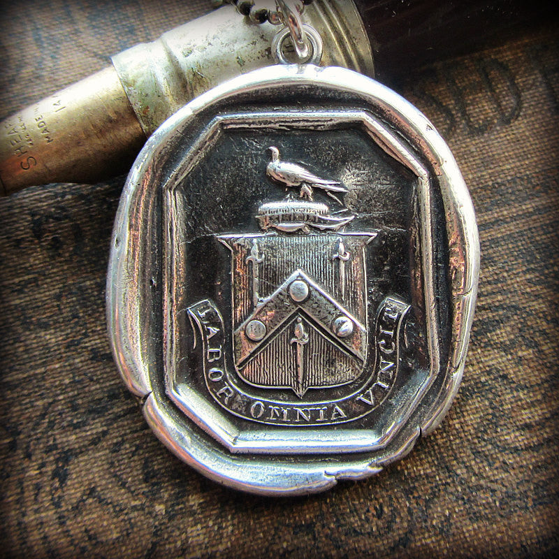 Hard Work Conquers Everything Wax Seal Crest Pendant- Latin motto Labor Omnia Vincet - Shannon Westmeyer Jewelry - 3