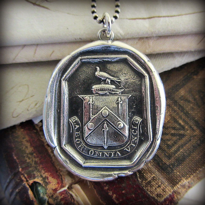 Hard Work Conquers Everything Wax Seal Crest Pendant with the Latin motto Labor Omnia Vincet