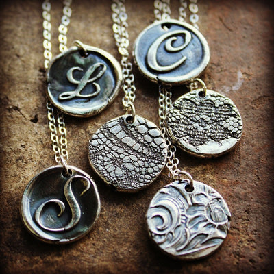 Wax Seal Monogram Necklace Reversible Lace Imprint-Shannon Westmeyer Jewelry