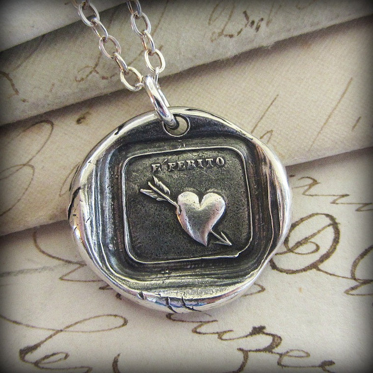Love Hurts - Heart and Arrow Wax Seal Necklace - Shannon Westmeyer Jewelry - 1